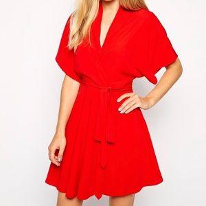 ASOS Red Kimono Faux Wrap Tie Mini Skater Dress 4